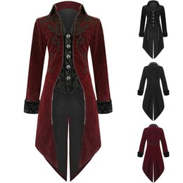 Mens gothic long coat online shopping - Nice Men Vintage Tailcoat Gothic Steampunk Trench Coat Mens Retro Frock Outfit Overcoat Men Cosplay Costume Tuxedo For Party