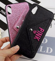 $enCountryForm.capitalKeyWord NZ - PINK Glitter Bling Soft TPU Case For Iphone XR X XS Max 8 7 6 6S Plus Shiny Sparkle Cards Slot Holder Cell Phone Skin Cover Fashion 10pcs