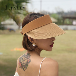 hats for big heads 2019 - Summer Straw Hats For Women Beach Holiday Caps Hot Womens Straw Hats Sun Visor Hat adjustable With Big Heads Wide Brim o