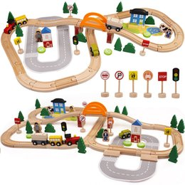 cars toys track 2019 - akitoo Export quality 78pcs wooden track toys small train puzzle assembly can be equipped with electric car track gift c
