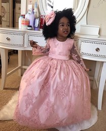 $enCountryForm.capitalKeyWord NZ - Pink Lace Girls Pageant Gowns Sheer Long Sleeves With Big Bow On Back Floor Length Flower Girl Dresses For Wedding Baby Party Dress