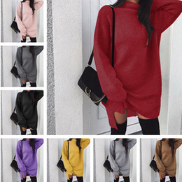 TurTleneck dresses plus size online shopping - Women Autumn Winter Knit Dress Split Long Hoodie Dresses Loose Wool Skirt Fashion Plus Size Solid Color Hoodies Turtlenecks Fashion