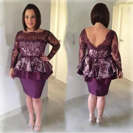 $enCountryForm.capitalKeyWord NZ - Grape Lace Mother Of The Bride Dresses Elegant Bateau Illusion Long Sleeves Peplum Knee Length Mother Groom Dresses Plus Size Evening Gowns