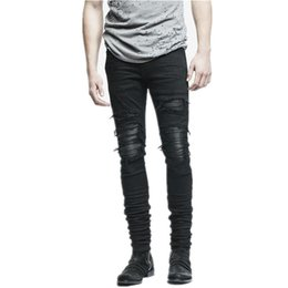 23 Patch Australia - New Dropshipping Men Ripped Biker Jeans Distressed Moto Denim Joggers Destroyed Knee Leather Pleated Patch