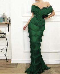 Emerald Prom Dress Straps Australia - Arabic Wavy Emerald Green Tassel Evening Dress Mermaid Long Crystal Off the Shoulder Elegant Women Formal Prom Dresses in Dubai Abendkleid