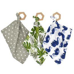 Discount saliva bandana - INS Baby Bibs Saliva towel Animals Flower Newborn Burp Cloths Soft Cotton with Beech Print Bandana Feeding Scarf 38*38cm