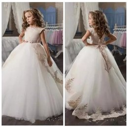 Green Ribbon Bows Australia - 2019 Jewel A-Line Gold Lace Appliques Flower Girls Dresses Formal Sleeveless With Ribbon Bow Back Long Kids Birthday Party Gowns Communion