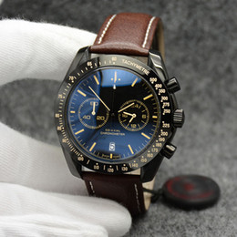 Leather Banded Ring Australia - 44MM Quartz Chronograph Date Mens Watches Yellow Number Markers Brown Leather Band Fixed Bezel With A Top Ring Showing Tachymeter Markings