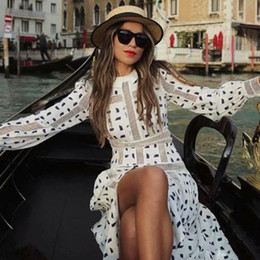 Wholesale long sleeve print midi dress resale online – European Runway Spring New Geometric Printed Midi Dress Women Elegant Long Sleeve Mesh Patchwork Pleated Dress