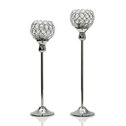 $enCountryForm.capitalKeyWord Australia - 40 & 45cm Tall Silver Crystal Candle Holders  Metal Candlestick   Candelabra Tealight Candle Stand for Wedding Father's Day Home Decoration