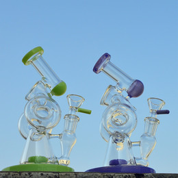 $enCountryForm.capitalKeyWord Australia - 7.8 Inch Unique Glass Bongs Sidecar Design Dab Oil Rig Slitted Donut Perc Water Pipes Double Recycler Glass Bong With Bowl XL-320