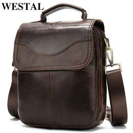 Male cross chain online shopping - WESTAL Bag Men s Genuine Leather messenger shoulder bag for men leather fashion Small Flap man male Crossbody bags handbags