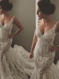 Wholesale retro mermaid illusion straps lace wedding dresses v neck appliques sweep train long country wedding gowns best turkey modern bridal