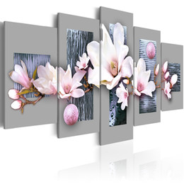 $enCountryForm.capitalKeyWord NZ - Modern Painting Canvas 5 Panels Orchids Flower Canvas Print Modular Picture for Wall Art Living Room Home Decor (No Frame)