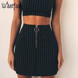0390a11e3319 Stretchy Skirts NZ - Waatfaak Fashion Striped High Waist Mini Skirts Women  Zipper Split Stretchy Bodycon