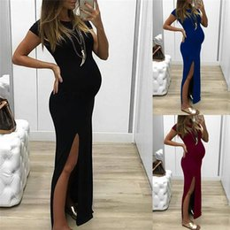 Red Dresses Black Tights Australia - Fashion Women Solid Tight-fitting Long Pregnant Short Sleeve Open Fork Dress Maternity Dresses Q190521
