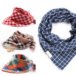Scarfs Cotton Australia - Korea Baby Triangle Pure Cotton Square Plaid Baby Saliva Towel Bib Scarf for Boys And Girls Thin