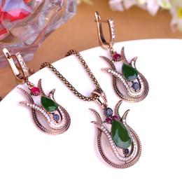 $enCountryForm.capitalKeyWord NZ - Blucome Vintage Style Green Tulip Flower Pendant Necklace Earrings Jewelry Set Alloy Resin Women Party Wedding Dress Accessories