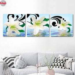 Discount canvas 3pcs painting - Lily Flower diamond painting Wall Painting 3pcs diy picture of rhinestone Wall Decoration diamond embroidery mosaic home