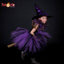 $enCountryForm.capitalKeyWord Australia - Purple Black Girls Tutu With Witch Hat Handmade Tulle Halloween Costume Carnival Cosplay Party Photo Dress Q190522