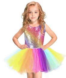 $enCountryForm.capitalKeyWord Australia - Girls Costume Tutu Dresses Princess Rainbow Sequins Party Dress With Hair band Sleeveless Backless Dance Dresses Children Day Gift