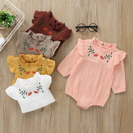 White jumpsuit child online shopping - Retail Baby Kids Girls Lantern sleeve embroidery Romper Toddle Infant baby bodysuit Children one piece onesies Jumpsuits Clothing