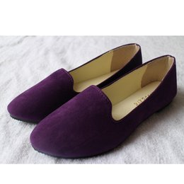 Pointy flats shoes online shopping - 66879 Women Suede Flats Fashion High Quality Basic Mixed Colors Pointy Toe Ballerina Ballet Flat Slip On Shoes