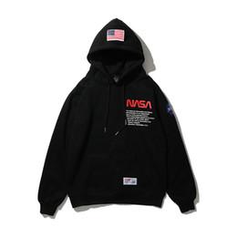 Wholesale white hoodie online – oversize NASA Letters Printed Mens Casual Hoodies Hooded High Street Pullover Male Female Hip Hop NASA Sweatshirts