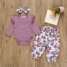 Wholesale 3PCS Newborn Baby Girl Kid Tops Romper Floral Pants Headband Outfits Set Clothes