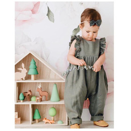Flying o online shopping - Children Pants Baby Pure Belt Pants Baby Flying Sleeve Pants Unisex Cotton Sleeveless Round Collar Solid Color