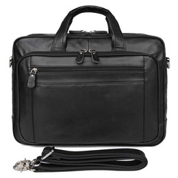 handbags 17 Canada - Designer 100% Genuine Leather Business 17 Inch Laptop Briefcase Large Document Bags Men Travel bag Black Soft Skin Handbag