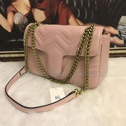 $enCountryForm.capitalKeyWord NZ - New Arrival 5Colors Famous Women Designer Shoulder Bag Marmont Leather Chain Bag Pure Color Womens Handbags Crossbody Bag Purse #1732681