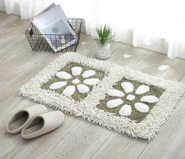 Living room fLoor mats fLoraL online shopping - Chenille Anti slip Bathroom Carpet Petals Pattern Hallway Doormat Home Decor Bath Rugs For Kitchen Soft Bedroom Floor Mats