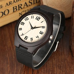 $enCountryForm.capitalKeyWord Australia - Pure Wood Watch Mens Genuine Leather Watch for Men Classic Numerals Display Simple Wooden Stripes Clock Male New Arrival 2019