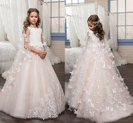 $enCountryForm.capitalKeyWord NZ - White Ivory Lace Kids TUTU Flower Girl Dresses with Butterfly First Communion Party Princess Gown Bridesmaid Wedding Formal Dress 193