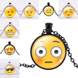 cool kids glasses Australia - Winking Cool Laughing Smile Kiss Emoji Expression Glass Cabochon Necklace Time Gemstone Necklaces for women men kid Jewelry DROP SHIP