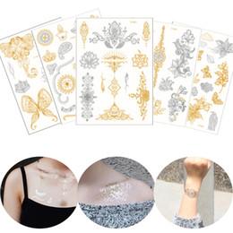 $enCountryForm.capitalKeyWord Australia - Flash Gold Metallic Tattoo Silver Datura Henna Flower Designs Waterproof Temporary Chest Shoulder Arm Body Art Tattoo Stickers Western Style