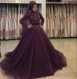 Long evening dresses cheap prices online shopping - Muslim Arabic Designer Evening Prom Dresses High Neck Long Sleeves Applique Lace Sequins Tulle dark Purple Cheap Price Designer