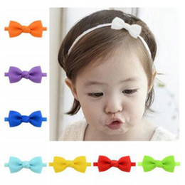 Cute headband bows for babies online shopping - Bow solid colors headband baby girls elastic fashion hair bands cute hair accessories for different color