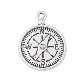 $enCountryForm.capitalKeyWord Australia - Wholesale Antique Silver Plated Alloy Camping Compass Charms For Camper 20*27mm 50pcs AAC1956