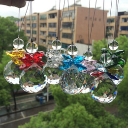 Clear Balls Australia - Beautiful Glass Beads With Crystal faceted ball Pendant For Christmas Tree Decoration  Suncatcher Hanging Home Decoration
