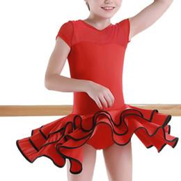 Latin Salsa Tango Ballroom Dance Dress NZ - ruffle ballroom latin dance dress girls kids competition children salsa tango rumba samba for performance dancing practice skirt