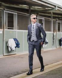 Discount two piece suits for mens wedding - Mens Wedding Tuxedos Classic Fit 2019 New Notch Lapel Three Piece Best Mens Suits For Weddings (Jacket+Pants+Vest) Blaze