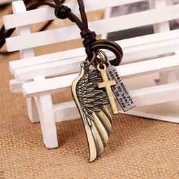 necklaces pendants NZ - Wholesale Vintage Statement Necklaces Pendants EURO-US Hot Fashion Jewelry Angel Wings Leather Cross Pendant Necklace For Men Women