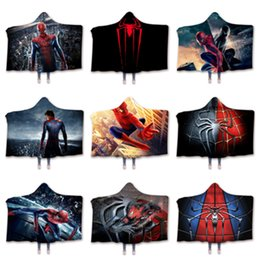 Hot 3d movies online shopping - hot spider Cloak blanket D Printing Movie Character Gothic plush blanket Sherpa Fleece Wearable Throw blankets Boy blanket T2I5228