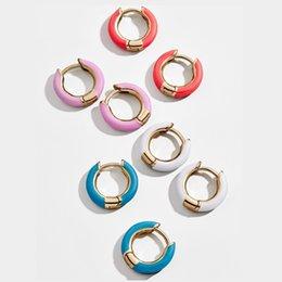 Alloy epoxy online shopping - 1 cm Solid Colors Metal Hoop earrings Epoxy Alloy Circle Earrings Office Lady Wedding Bride Jewelry For Women