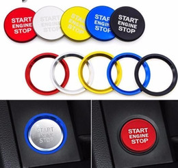 Decorations For Audi Cars NZ - 2019 Auto Engine Start Button Switch Key Ring Car Styling Case For Audi A4 A5 A7 Q3 Q5 Q7 Decoration Cover Interior Accessories