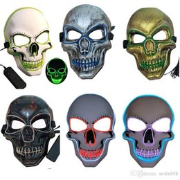 led for costume Australia - 6 styles Skull Glowing Mask Costume LED Party Mask For Horror Theme Cosplay EL Wire Halloween Masks Party Supplies DHL HH9-2437