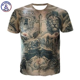 Wholesale t shirt muscle funny for sale – custom Men Tattoo Muscle T shirt D Animal Printed Top Tees Male Summer Tshirt Hip Hop Streetwear Funny T Shirt