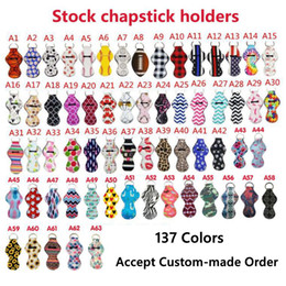 Wholesale Neoprene Keychain Sports Printed Chapstick Holder Leopard Keychain Wrap Lipstick Holders Lip Cover Party Favor Gift 61 Designs YW1710
